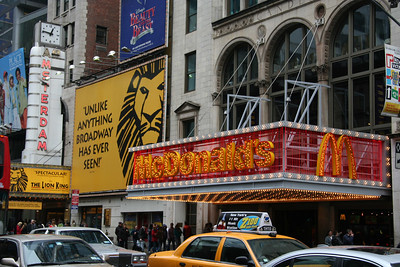 Flashy McDonald's - right next to the New Amsterdam Theater where the Lion King is playing