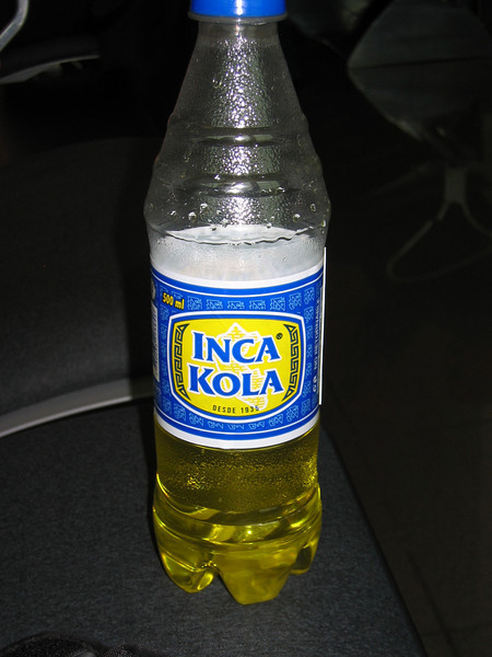 Inca Kola - national drink, and not really a cola. Tastes like bubble gum (and like toothpaste in Switzerland)