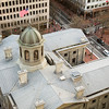 Pioneer Courthouse building from above. Taken from the rooftop bar at The Nines hotel.