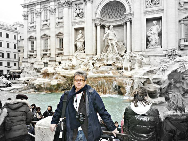 Rustem at the Trevi Fountain.