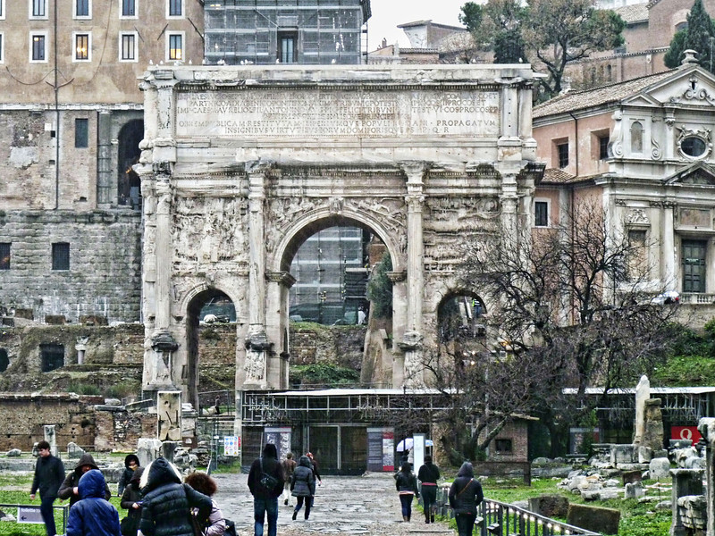 The Arch of Septimius Severus in the pouring rain.