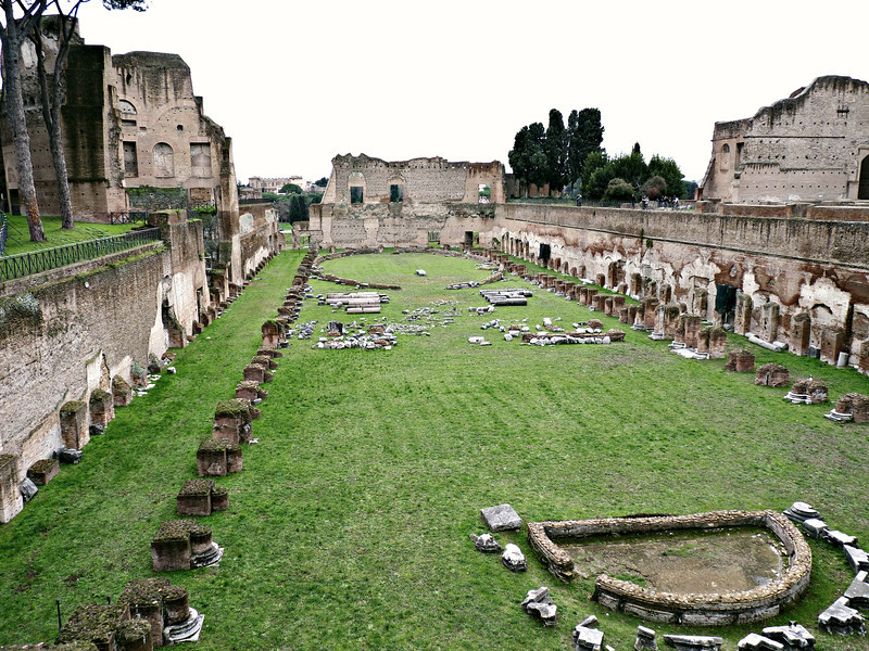 The private stadium Of Domitian on the Palatine Hill.