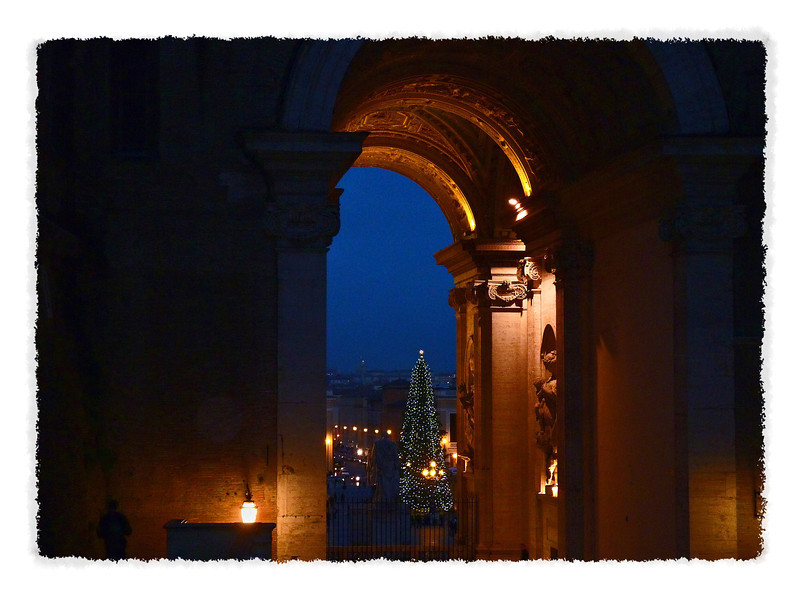 As we leave the Vatican Museums for St. Peter's Cathedral, a lovely peek onto the square and its Christmas tree.