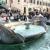 Fountain of the Old Boat in Piazza di Spagna at the base of the Spanish steps.