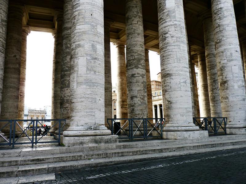 Massive pillars at the Vatican.