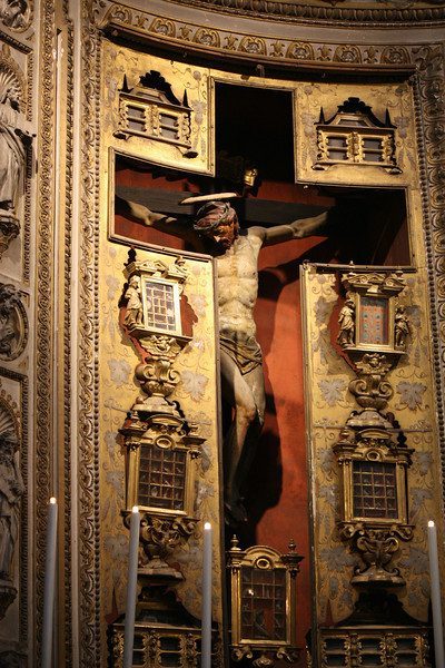 Jesus on the cross in the Church of Santa Maria di Loreto.