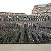 The Colosseum with a view of the subterranean hypogeum where gladiators & wild animals were held before the games began. An elevator system existed to raise them.