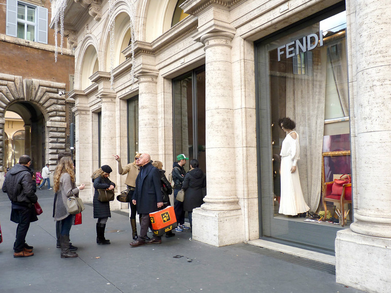 Lines waiting to get into Fendi on the Via Condotti. There were lines at most of the designer stores.