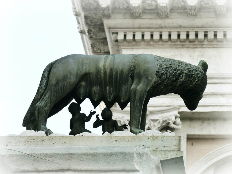 Romulus & Remus. Romulus is credited with the founding of Rome in 753 BCE.