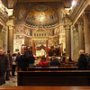 Interior of the Basilica of Our Lady in Trastevere. The central mosaic is from the 13th Century.