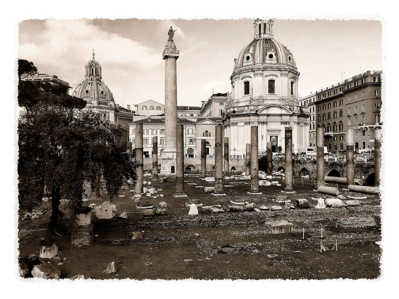 The ruins of Trajan's Forum & Trajan's Column (1st Century A.D.) with the Church of Holy Name of Mary (1683).