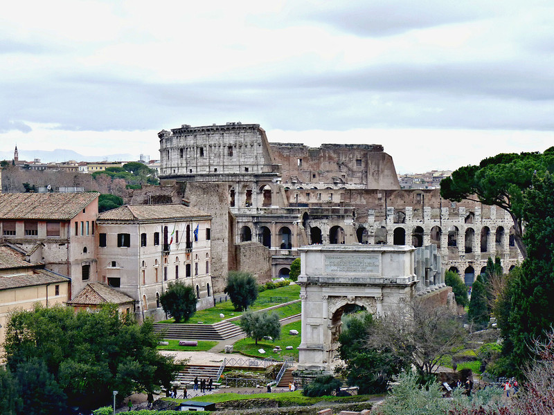 View of the Forum & Colosseum from Palatine Hill.