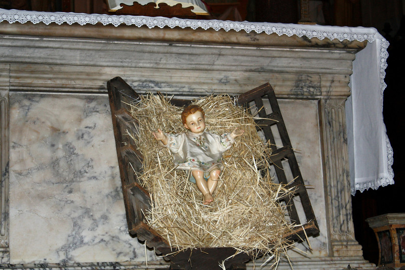 Baby Jesus in the manger at the Basilica of Our Lady in Trastevere.