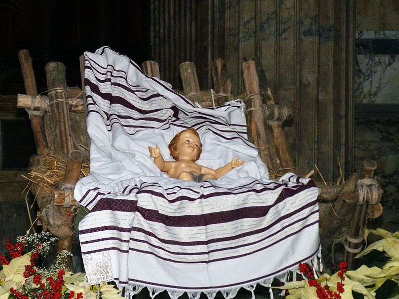 Baby Jesus in the manager on the altar of the Pantheon. Seems he's lying on a tallis.