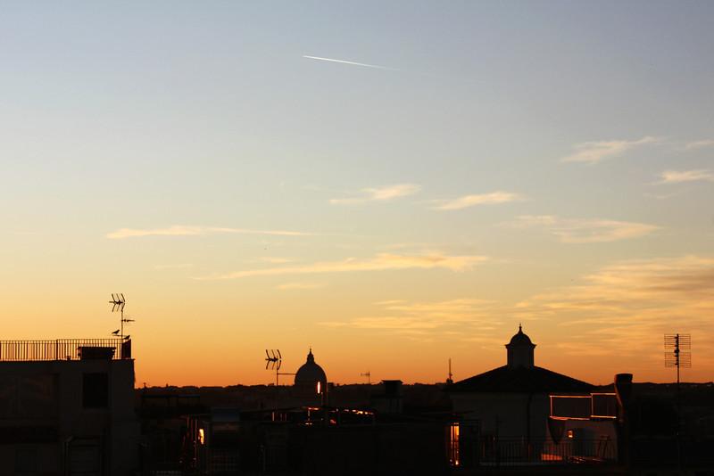 Night descending on Rome.