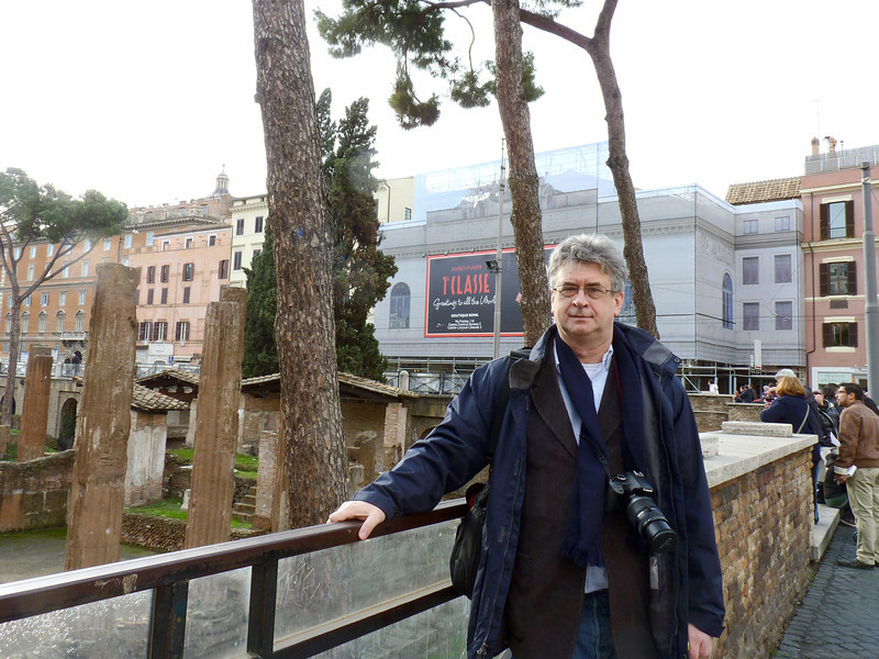 Rustem at the ruins in Largo di Torre Argentina square.