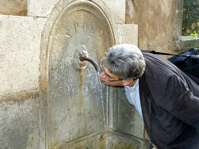 The fountain's water source is an old Roman aqueduct & and is still potable.