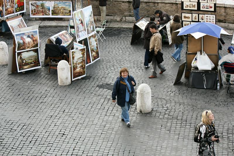 Susan walking in Piazza Trinità dei Monti.