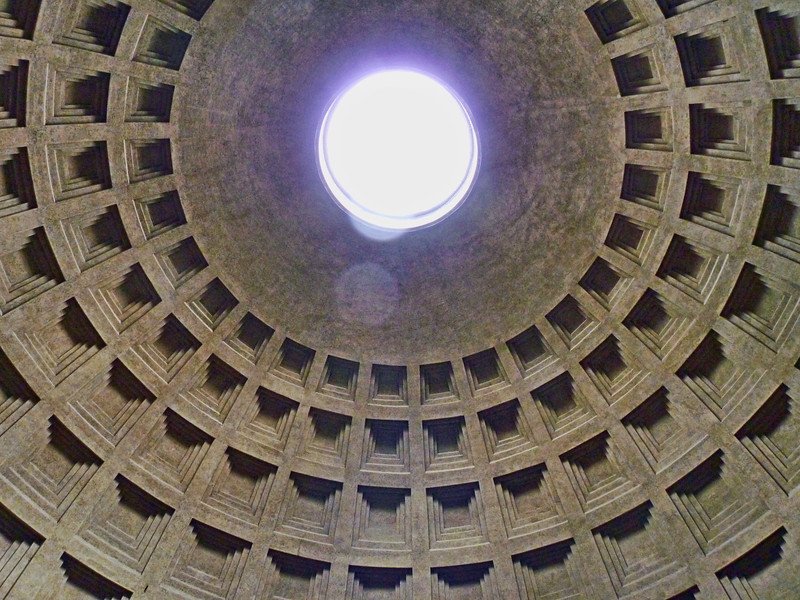Almost two thousand years after it was built, the Pantheon's dome is still the world's largest unreinforced concrete dome. Tiny drains & a gently sloping floor prevent rain water from accumulating.