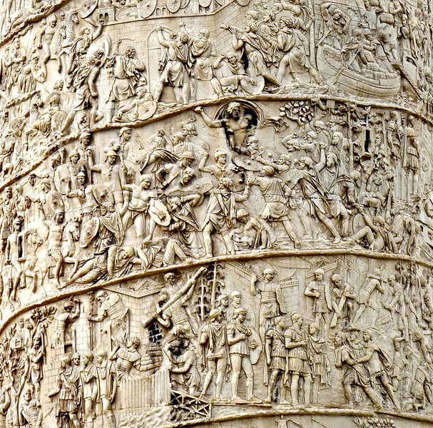 Trajan's Column detail. The column commemorates Emperor Trajan's victories in the Dacian [Romanian] Wars.