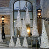 White Christmas trees in front of the Westin Excelsior on the Via Veneto.