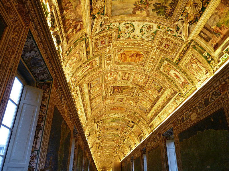 Map Gallery ceiling at the Vatican (1580).
