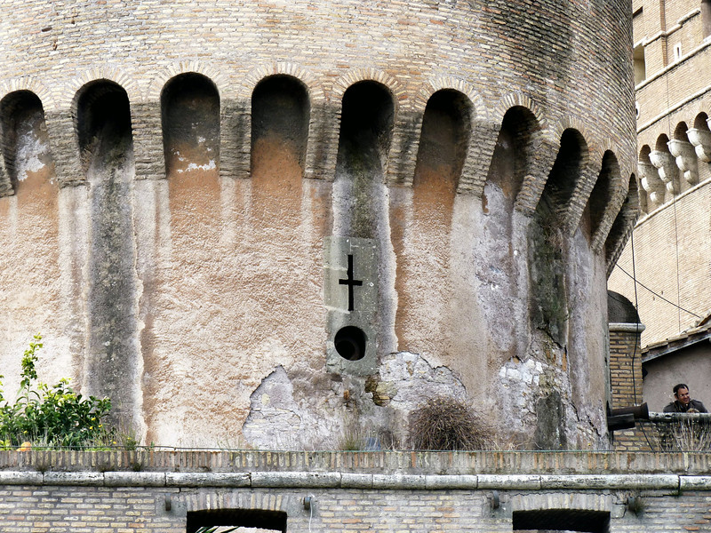 Cross in the side of Castel Sant'Angelo.
