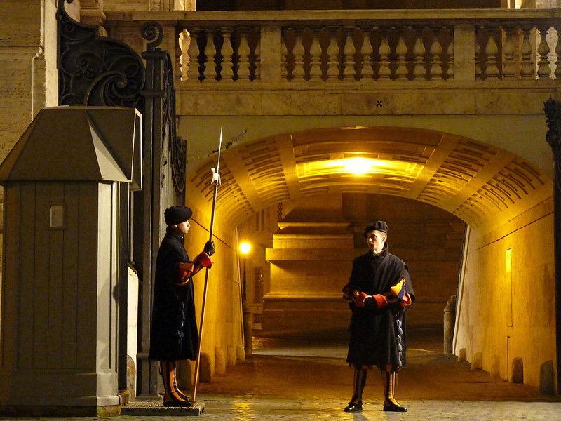 The Vatican's Swiss Guards on duty. The Papal Swiss Guard was founded in 1506. They take an oath of loyalty to the Pope.