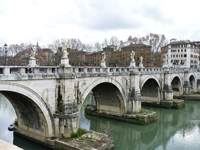 The Apostles, angels & other biblical figures on the Ponte Sant'Angelo.