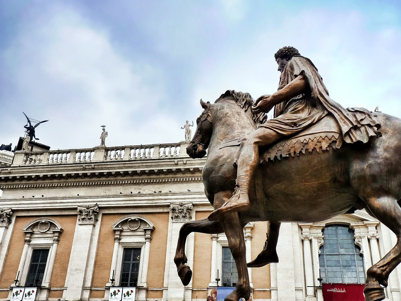 Statue of Marcus Aurelius on his horse in Piazza del Campidoglio, designed by Michelangelo.This is a replica. The original bronze statue dating from 175 AD is in the museum.