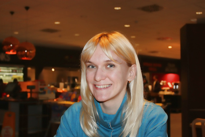We grabbed a snack at the airport with Olga Vezigina, who was in our group.