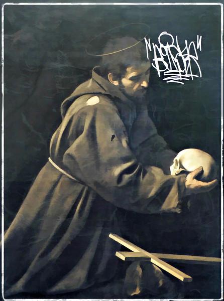 Poster of a Capuchin Monk outside the church  of Santa Maria della Concezione dei Cappuccini.