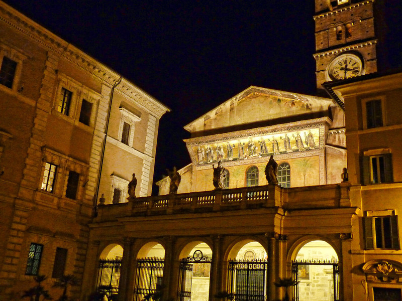 The Basilica of Our Lady in Trastevere, one of Rome's oldest churches (340 AD).