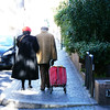 Walking into the light. This couple were walking ahead of us as we headed to the Villa Borghese .