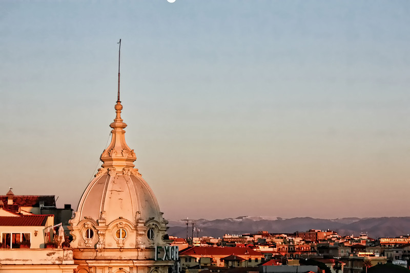 Rome's rooftops from the Savoy's rooftop terrace.