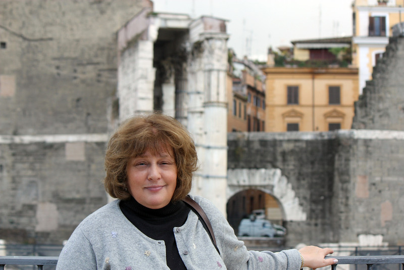 Susan at the ruins of Trajan's Forum.