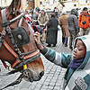 Boy petting a carriage horse in front of the Pantheon.