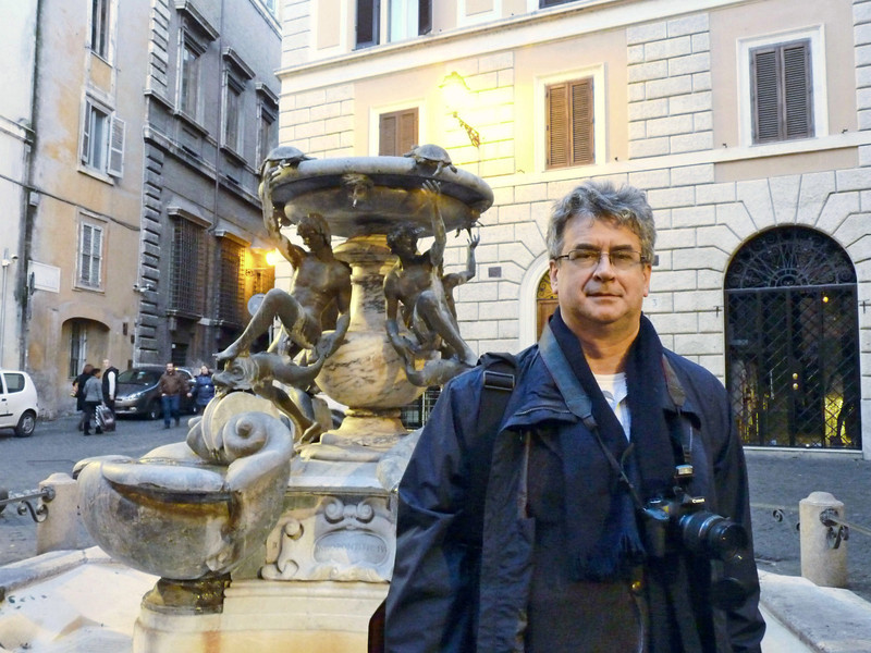 Rustem at the Turtle Fountain (1588) in Piazza Mattei near the old Jewish Quarter.