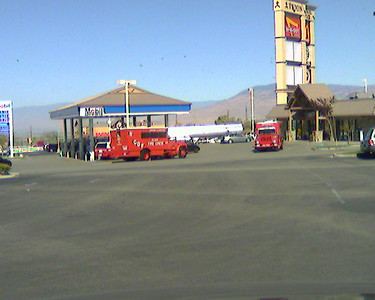 CDF Fire Trucks at a gas station