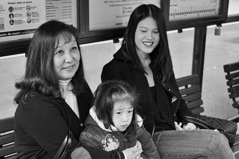 Mom, Ally and Carolyn waiting for the train