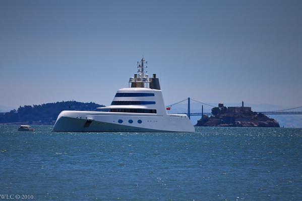 Alcatrez and a Private Yacht in San Francisco Bay