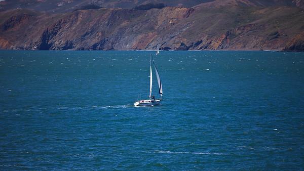 Sailing west of the bridge