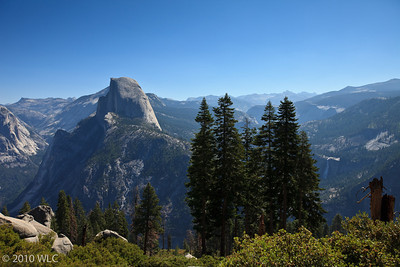 Half Dome on the left and Nevada Fall on the right of the Pine Trees
