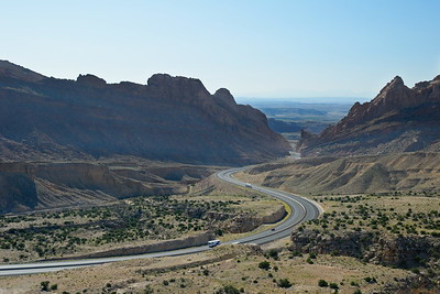 1-70 winding through Spotted Wolf Canyon as it cuts through the San Rafael Reef