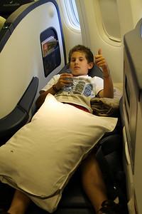 Jordan getting comfortable for the long flight