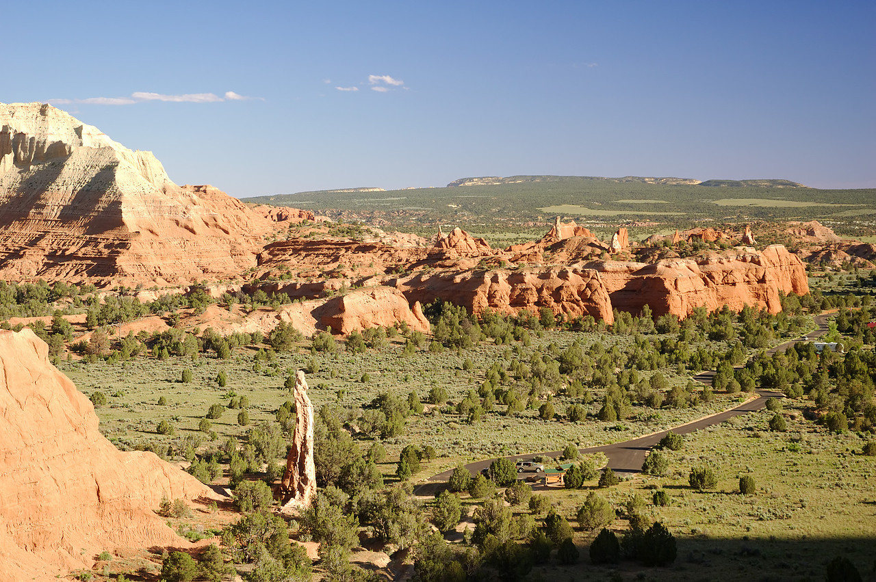 "<b><a href=""http://www.stateparks.utah.gov/park_pages/scenicparkpage.php?id=kbsp"" target=""_blank"">Kodachrome Basin State Park</a></b> is a very scenic, not well known part of southwestern Utah. Its a 45 minute drive from Bryce Canyon.  The unique feature of Kodachrome Basin is the 67 chimneys of rock know as sand pipes. One of these sand pipes can be seen in thie photo taken from part way up Eagles View Trail."