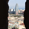 View of the 38 story Agbar Tower, home to Barcelona's main water company, viewed from one of the spires of Sagrada Familia - we took the elevator up.