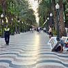 Police patrolling the beautiful Alicante promenade, Explanada de España, which is paved with 6.5 million marble floor tiles.