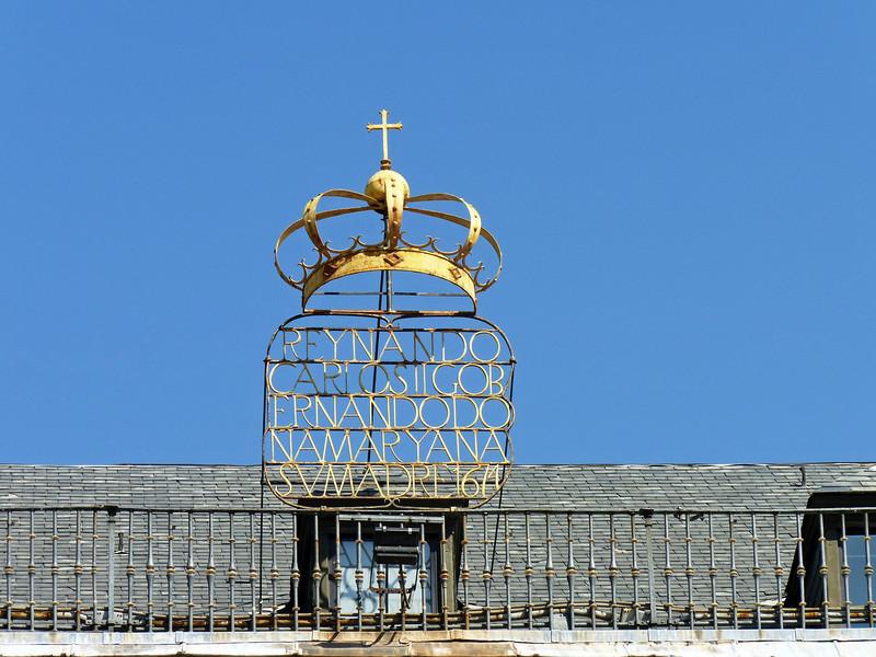 The Crown atop Casa de la Panaderia, Plaza Mayor.