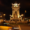 Plaza de España at night while we wait for the Airport Express bus.